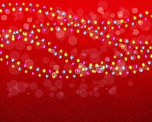 Christmas background with colorful garlands. Vector.