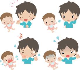 赤ちゃんとお父さんの表情