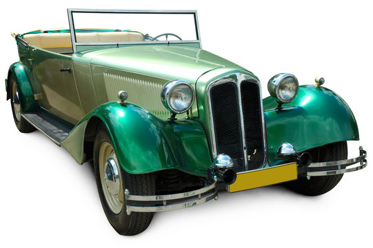 Classic green covertible retro car