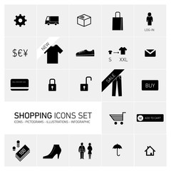 Vector abstract squares shopping illustrations and icons
