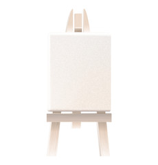 Empty blank canvas on wooden easel isolated on white
