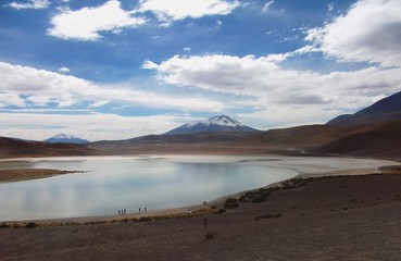 bolivia mountains and lake panorama