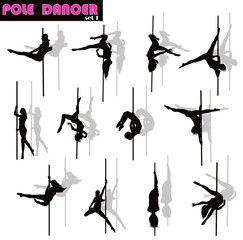 Pole dancer woman vector silhouettes set