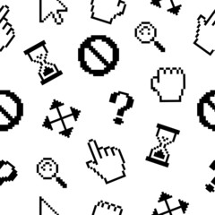 Pixel cursors icons pattern background