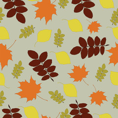 Seamless background pattern with autumn leaves in vector