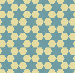Teal and Yellow Hexagon Patterned Textured Fabric Background