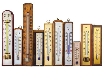 Set of retro thermometers isolated on white