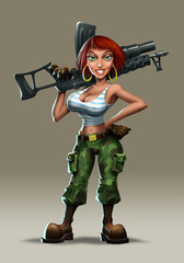 Girl with a machine gun