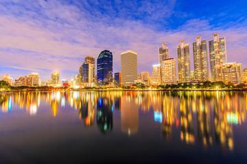 bangkok thailand night city at Benjasiri Park