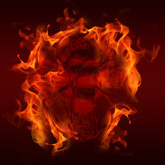 Foto op Canvas Vlam Feuer Totenkopf Skull