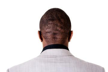 Black male head, back.