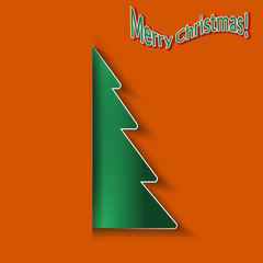 Christmas orange background with paper Christmas tree