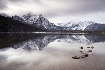 Sawtooth Mountain Lake Deep Winter Landscape Idaho NRA