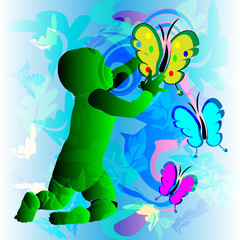 Symbol of baby and butterfly