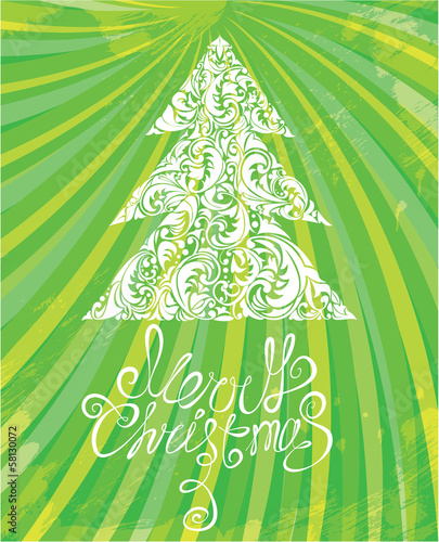 white christmas template with swirly ornamental tree and merry c