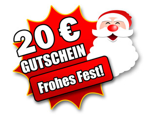 """Siegel """"20 Euro Gutschein - Frohes Fest!"""""""
