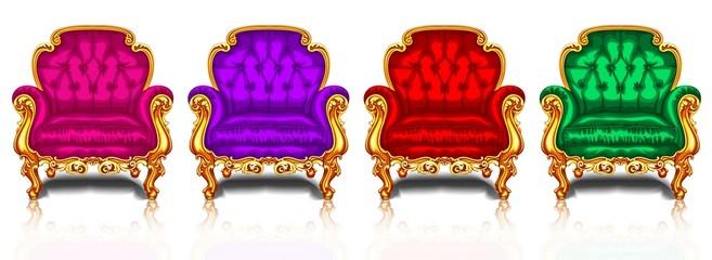 Ретро стулья с золотой отделкой