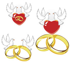 Wedding rings, hearts and doves