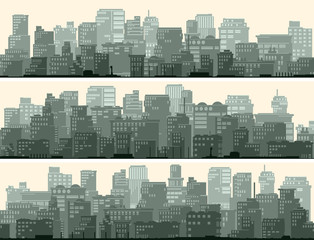 Horizontal banner of big city.