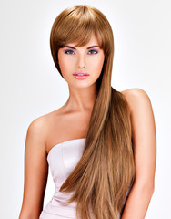 Beautiful indian  woman with long straight brown  hair