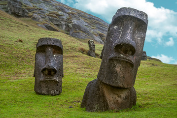Moai standing in Easter Island , Chile - South America
