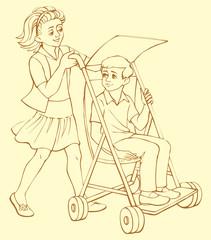 Vector illustration. The girl rolls in a wheelchair sick boy