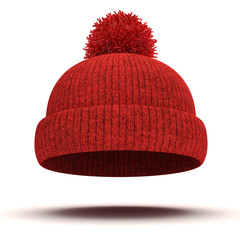 3d red knitted winter cap on white background