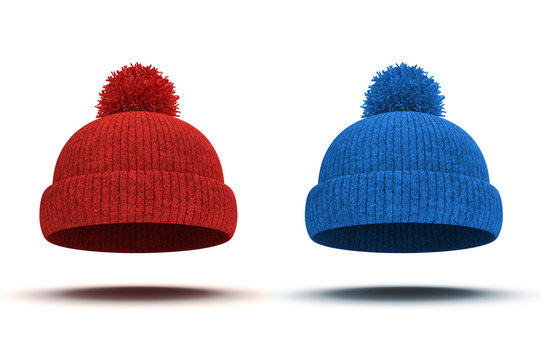 3d red and blue knitted winter cap on white background