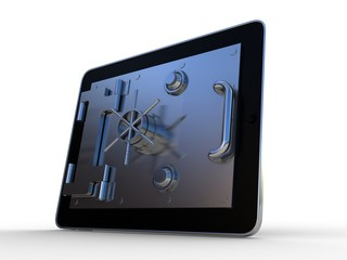 Tablet and opening safe deposit box's door