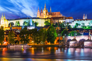 Wall Murals Prague Night scenery of Prague, Czech Republic