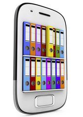 ring binders in smartphone, 3d render