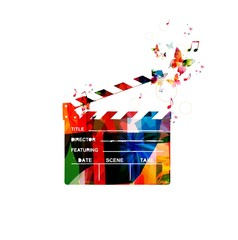 Colorful vector movie clapper background with butterflies.