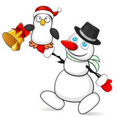 Snowman with small penguin