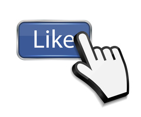 Mouse hand cursor on like button vector illustration