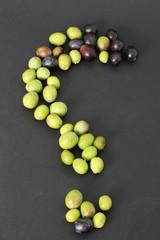 Fototapete - Punto interrogativo e olive