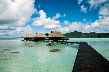 Overwater bungalows on motu in french polynesia