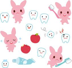 歯とウサギのキャラクター