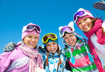 Wall Mural - Company of friends on ski holiday