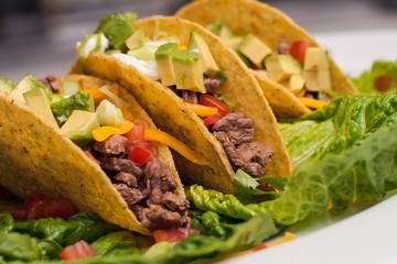 Trio of roast beef tacos