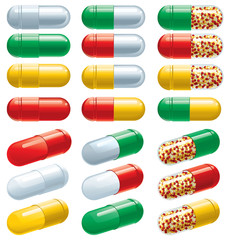 Vector set of many color Pharmaceutical capsules