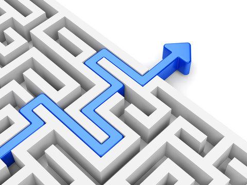 Blue arrow path across labyrinth