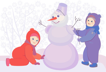 vector illustration of little kids playing and snowman