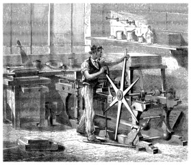Worker & Lithography Press - 19th century