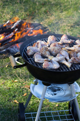 Cooking chicken on the barbecue grill
