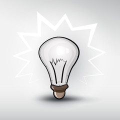 Vector bulb on grey background