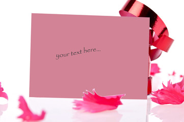 red ribbon and card