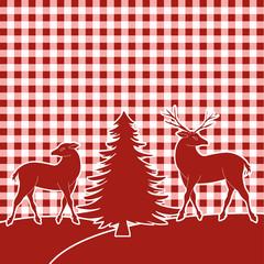Waldweihnacht - Rentiere und Tannenbaum