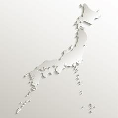 Japan map card paper 3D natural