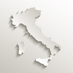 Italy map card paper 3D natural