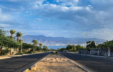 Local street running to the Red Sea, Eilat, Israel